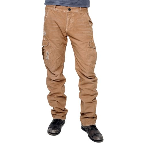 ROCKSTAR sushi - 'ARMY SAND' Distressed Cargo Pants with Leather Accent