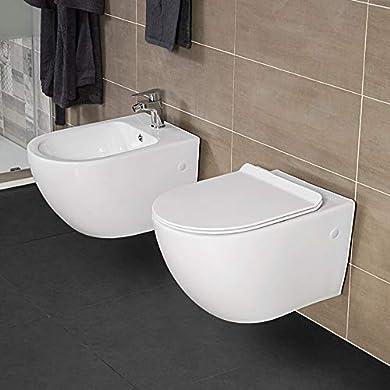 Foto di Set Sanitari Vaso + Bidet Sospesi, Rimless, Colore Bianco, Design Moderno, Completo di Copriwater con Chiusura Soft-Close