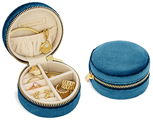 Plush Velvet Travel Jewelry Organizer | Jewelry Travel Organizer | Travel Jewelry Box | Travel Jewelry Case | Jewelry Travel Case | Small Jewelry Box Travel | Jewelry Organizer Travel Box - Ocean Blue