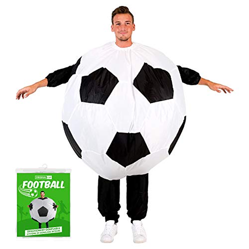 Disfraz de Baln de Ftbol Hinchable | Disfraz de Globo Tamao Adulto | Polister | Cmodo | Resistente | Sistema de Inflado Incluido | OriginalCup