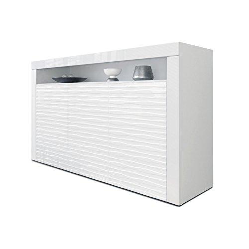 Sideboard Kommode Valencia, Korpus in Weiß matt/Fronten in Weiß Hochglanz Harmony mit 3D Struktur und Blenden in Weiß Hochglanz