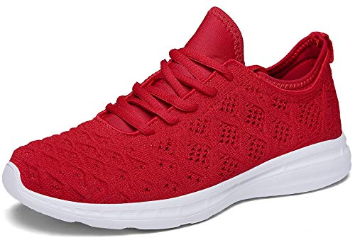 JOOMRA Women Tennis Shoes Size 10 Lightweight for Casual Ladies Gym Workout Jogging Walking Running Sport Fashion Sneakers Red 41