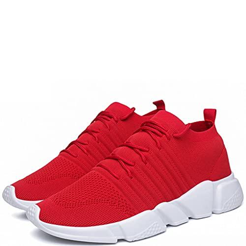 XIMIXI Los hombres de la moda entrenadores de goma flexible suela de malla superior transpirable Running zapatos de moda zapatillas para hombres, marrón (Rojo), 39.5 EU
