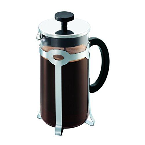 Bodum Bistro - Cafetera de émbolo (8 tazas, 1 L, con vaso), Acero Inoxidable, chrome