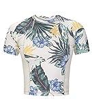 Hurley Junior's Cropped Short Sleeve Floral Sun Shirt UPF +50 Rashguard, Sail/White, XL