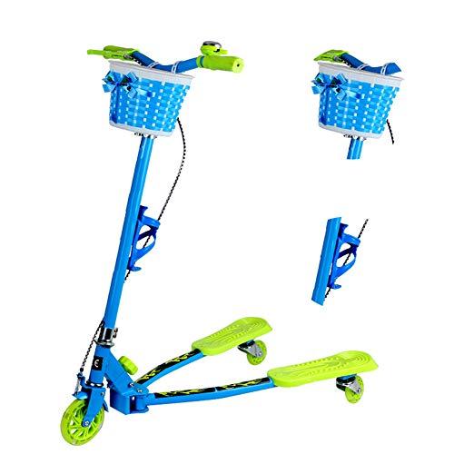 N / C Hochwertiger dreirädriger Roller mit Korb und Getränkehalter, faltbar, auf 6 Höhen einstellbar, sicher und langlebig, rutschfest und sturzsicher, geeignet für Gartenparkrasen