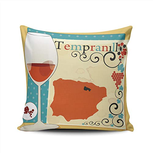 BERLK Throw Pillow Covers Tempranillo French Red Wine with Art Leafs Decorative Pillowcase Cushion Case 16x16 Inch Square Double Sided Design Printed