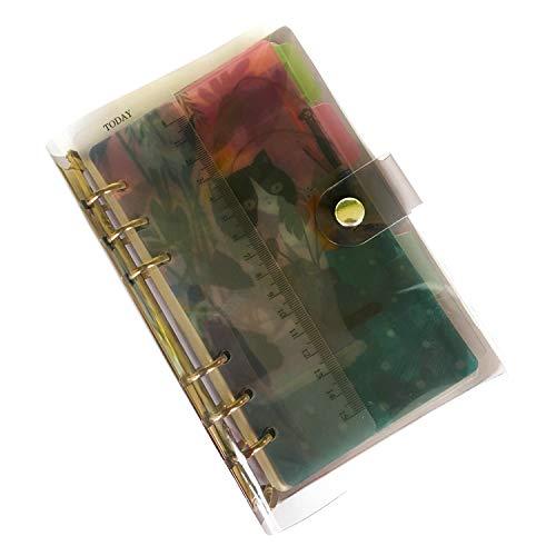 【セット販売】A5 6穴 システム手帳 ビジネス リングノート PVC製 ブラッククリア バインダー 落ち着いた色合い インデックス5枚 ルーラー1枚 パンチ穴補強シール 84片 リフィル 幅8mm横罫線45枚 5mm方眼45枚 名刺ポケット&収納袋各1枚