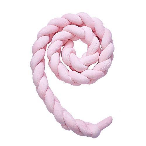 3M Bettumrandung geflochten Bettschlange Babybett Nestchen für Baby Bettausstattung Zopfschlangen Kinderbett Stoßstange,Pink