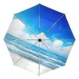 Ombrello 3 pieghe personalizza Nordic Blue Sky Ocean Sea Anti-UV Auto Open Close Antivento leggero