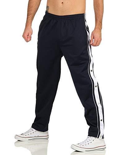 ZARMEXX Herren Trainingshose mit seitlicher Knopfleiste zum öffnen Button Up Sporthose Freizeithose Jogginghose Sportswear (Navy, 3XL)
