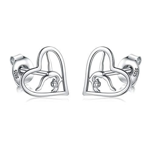 Gymnastics Gifts for Girls Gymnast Stud Earrings 925 Sterling Silver Team USA Gymnastics Girl Fashion Jewelry Sport Ballerina for girl Birthday Christmas Gifts (Silver)