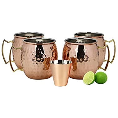 A29 Moscow Mule 100% Solid Pure Copper Mug/Cup (16-Ounce/Set of 4, Hammered) with BONUS Shot Glass and Free Recipe Booklet
