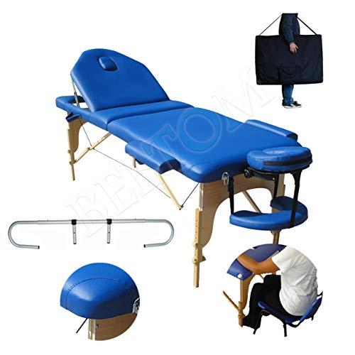 Beltom Mobile Massagetisch Massageliege Massagebank 3 zonen Blau klappbar + Rollenhalter