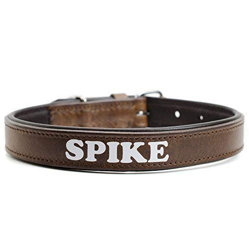 MenQ Shop hondenhalsband met naam echt leer gepersonaliseerd bruin gewenste tekst, Small, bruin