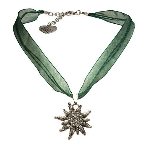 Alpenflüstern Organza-Trachtenkette Strass-Edelweiß - Damen-Trachtenschmuck Dirndlkette grün DHK079
