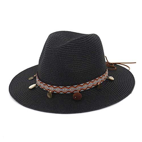Moda Casual Sombrero para el Sol Salvaje, Sombrero de Paja con Playa Piscina Parque Camping Senderismo Ancho Playa Sombrero Visera Sombrero Gorra Sombrero, TBR@AKL, Negro, Ajustable