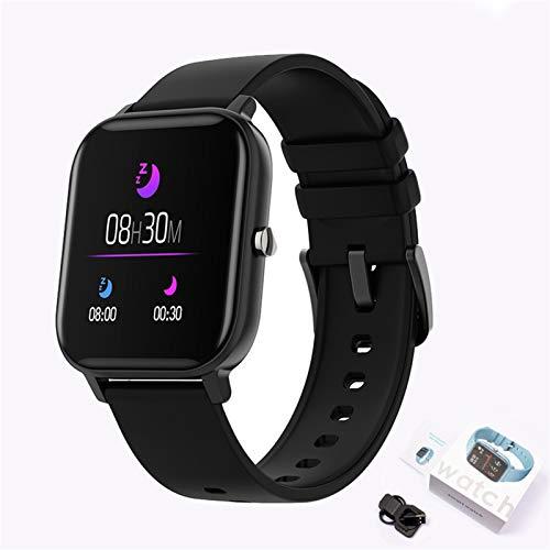 YNLRY Reloj inteligente P8 con pantalla de color para hombres y mujeres, monitor de actividad física con tacto completo, reloj inteligente de presión arterial para mujer (color negro)
