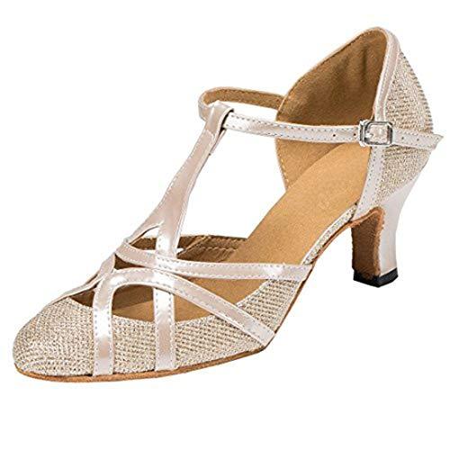 Fashion Damen T-Starp geschlossener Zehenbereich Glitzer Synthetik Abend/Hochzeit Tango Ballroom Modern Latein Tanzschuhe, Champagne-6cm Heel - Größe: 36 EU