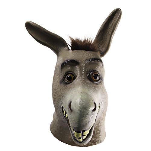 Molezu Shrek Donkey Mask,Halloween Novelty Deluxe Costume Party Cosplay Latex Animal Head Adult (grey)