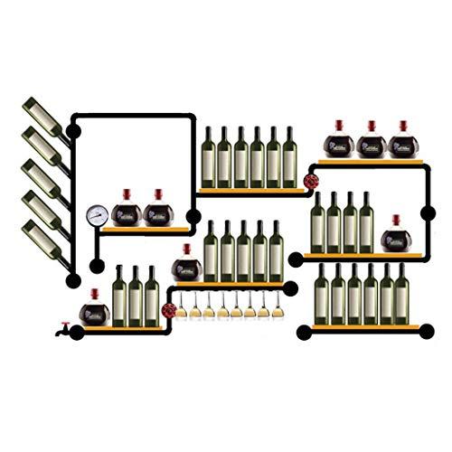 WYB Porte bouteille Support De Vin Loft Vent Industriel Décoration Murale Bar Suspendu Tablette En Bois De Fer Forgé 200 * 120cm Étagère de rangement