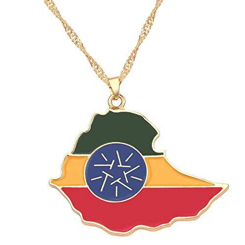 Collar De Mapa,Diseño De Ingenio Etiopía Bandera Contorno Cadena Dorada Mapa Colgante Collar Encanto Étnico Único Brillante Joyería para Mujeres Hombre Niños Niña Viaje Patriótico Conmemorar