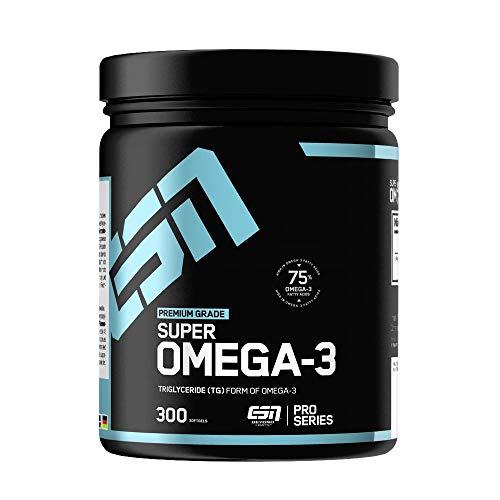 ESN Super Omega 3 Caps – 300 Kapseln à 1000 mg reines Seefischöl – Essentielle Fettsäuren EPA (Eicosapentaensäure) und DHA (Docosahexaensäure) – 300 Portionen – Made in Germany