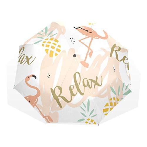 Trushop Automatischer Regenschirm Pineapple and Swan Windproof Travel Umbrella Compact Folding Umbrella