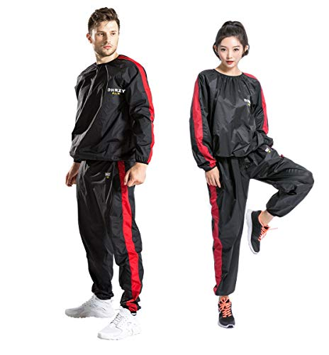 DNRZY F.I.T Sweat Sauna Suits for Men and Women Weight Loss Anti-Rip Sport Workout Suits Running Slimming Sauna Suit for Lose Weight Fat Burner Sweat Workout Clothes Durable Long Sleeves
