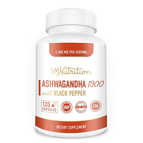 Organic Ashwagandha Capsules - 1300mg (120 Count) Made with Organic Ashwagandha Root Powder & Black Pepper Extract - 100% Ashwagandha for Stress Relief, Anti-Anxiety & Adrenal, Mood & Thyroid Support*