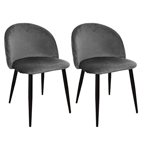 Nimara 2er Set Samt Stuhl in skandinavischem Design | Esszimmerstühle und Küchenstühle für den Esstisch aus Stoff | Esszimmerstuhl in Rosa, Grau, Grün, Blau und Schwarz