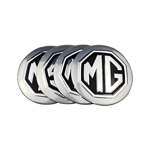 Tapa del Centro de la Rueda para Coche Emblem Wheel Center Rim Hub Caps Calcomanía para MG Logo para MG TF ZR ZS ES HS EZS Morris 3 GS 4PCS 56MM Cubiertas Pegatinas ABS (Color Name : Silver)