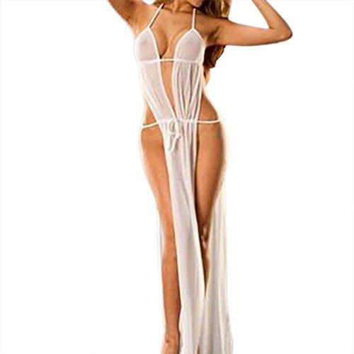 Yesmile Ropa de Interior de Bañera Babydoll Sexy Vestido Largo Sin Espalda G-String Ropa de Dormir Pijama Body Traje de Dormir Lenceria (Blanco, L)