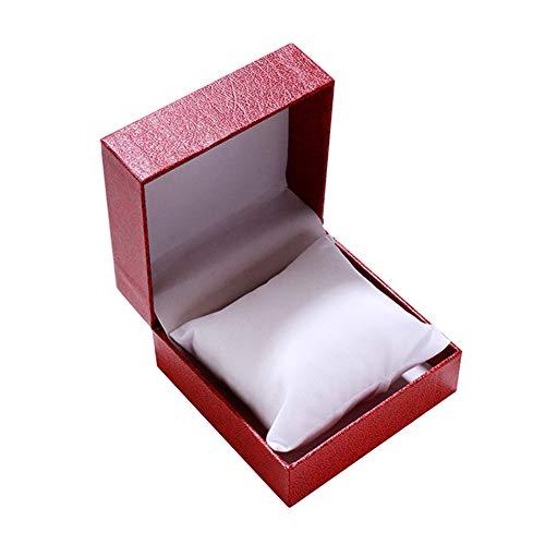 FINIVE Joyero Cuadrado Pulsera Reloj Caja De Almacenamiento Soporte De Exhibición De Joyería Caja De Almacenamiento Organizador De Soporte De Regalo De Cumpleaños para Hombres Y Mujeres Rojo + Blanco