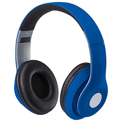 iLive Bluetooth On-Ear Headphones, Includes 3.5mm Audio Cable and Micro USB to USB Cable, Matte Blue (IAHB48MBU)
