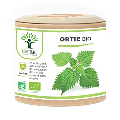 Ortie Bio - Bioptimal - Complément Alimentaire - Silicium Organique - Poudre de Feuille Ortie Pure - Articulation Peau Circulation - 250 mg/gélule - Cultivé en France - Certifié Ecocert - 60 gélules