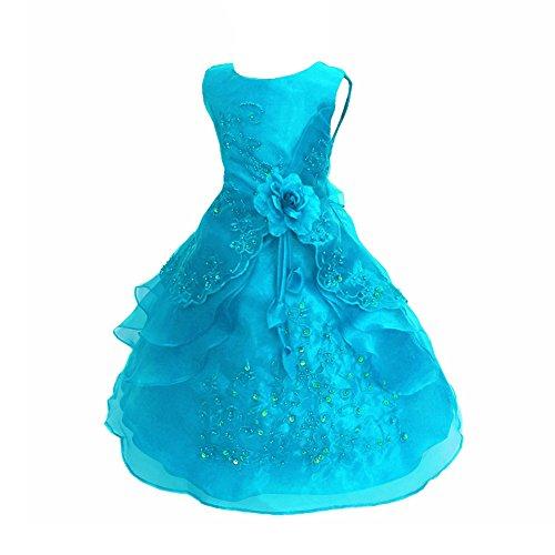 Free Fisher Mädchen Abendkleid Spitzenkleid Ärmellos, Eisblau, Gr.128/134( Herstellergröße: 130)