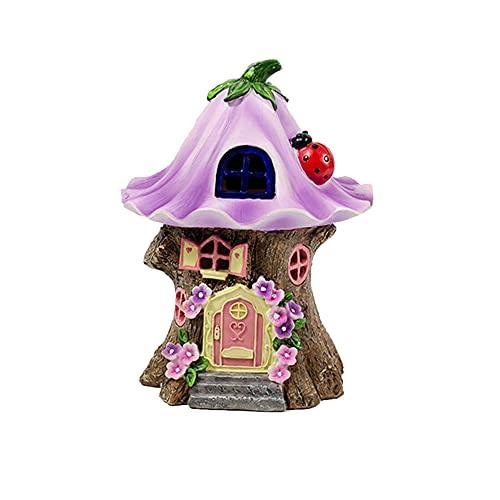 Estatua de jardín solar de 20 cm para exteriores de casa de hadas, estatua de resina impermeable para decoración de jardines y esculturas de jardín (mariquita)