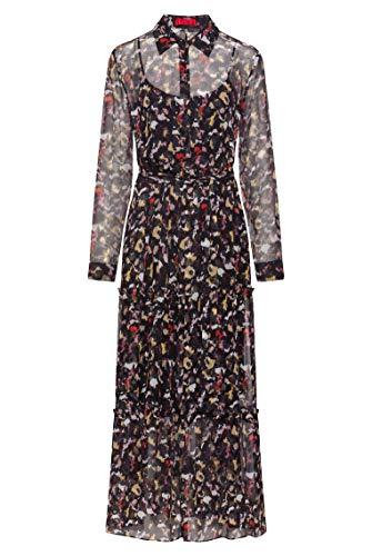 HUGO Damen Kalevas-1 Gestuftes Hemdblusenkleid aus Seiden-Chiffon mit Print der Kollektion