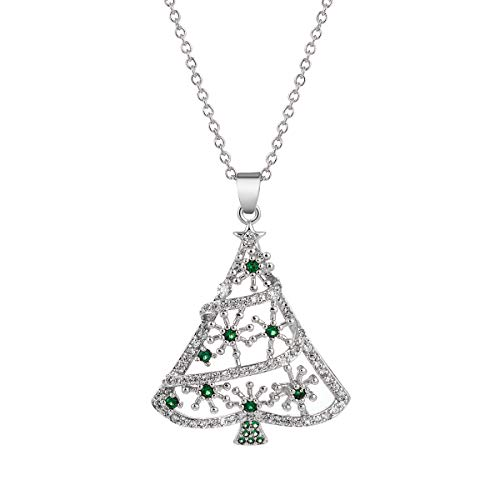 JDXN Christmas Santa Tree Claus Snowman Cubic Zirconia Pendant Necklace for Women Girls Christmas Jewelry (Silver Christmas Tree)