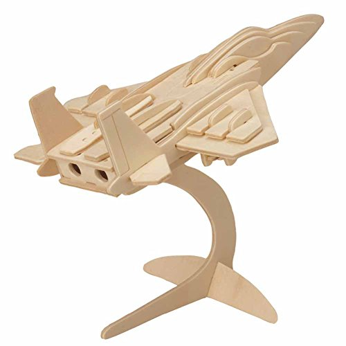 EQLEF 3D Jigsaw Fighter Airplane Model Woodcraft Kit Wooden Puzzle Toy(Type 2)