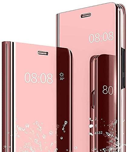GOKEN Smart View Clear Hülle für Oppo A74 4G, Spiegeln Folio Cover Schutzhülle Flip Mirror Hülle, PU/PC Lederhülle Handyhülle mit Flip Klappbarer Ständer - Rosé Gold