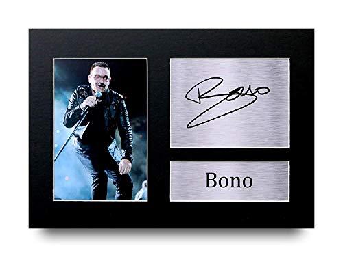 HWC Trading Bono A4 Ungerahmt Signiert Gedruckt Autogramme Bild Druck-Fotoanzeige Geschenk Für U2 Musik-Fans