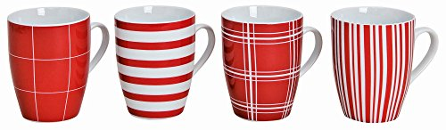 Modernes Porzellan Kaffeetassen 4er Set  I 10cm hoch - Ø 8cm - 300ml I Große Kaffee Tasse in rot / weiß gestreift & kariert