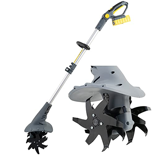 QAQWER Motozappa Elettrica, 20V Batteria Litio Zappatrice per Orto Elettrozappa da profondità 80mm, Larghezza 200mm Adatto a Tutti i Tipi di Terreno, Regalo per Il Giardino