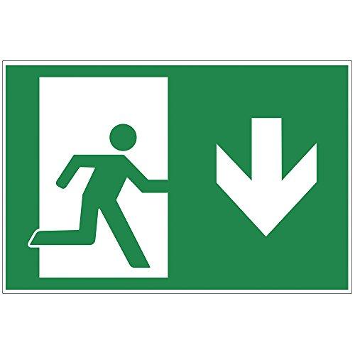 "Schild \""Notausgang\"" runter - Exit aus Alu / Dibond 200x140 mm - 3 mm stark"
