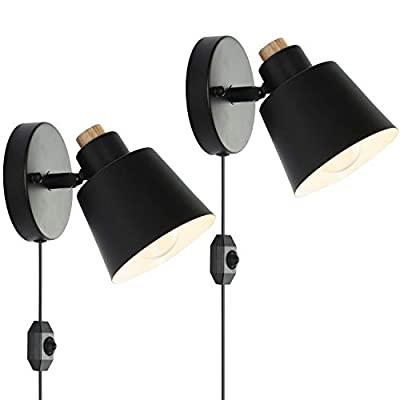 Larkar Dimmable Plug in Wall Sconce UL Wall Lights Plug in Wall Light fixtures Nordic Wall Lamp Bedside Reading Light with On Off Toggle Switch for Bedroom Set of 2