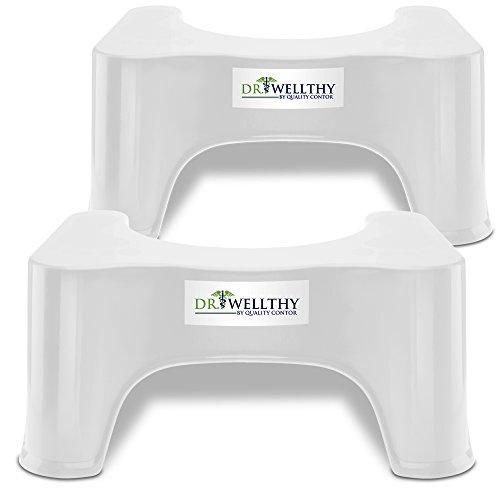 Quality Contor Dr. Wellthy - ¡El Taburete del tocador! - Antideslizante Anti constipación Curar Squat hemorroides (2 x ¡El Taburete del tocador!)
