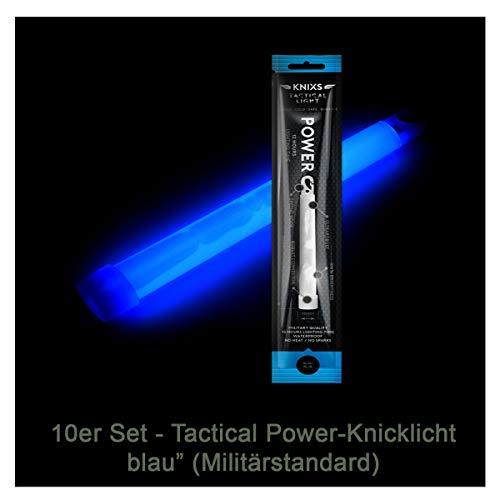 10er Set - Power-Knicklicht/Leuchtstab Tactical Light im Militär-Standard - blau leuchtend (6