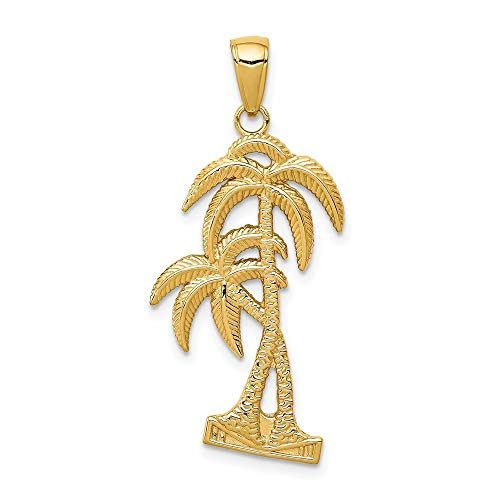14k Yellow Gold/Textured Palm Trees Pendant Charm Necklace Sea Shore Tree Fine Jewelry For Women Gifts For Her